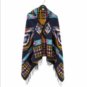 Colourful Poncho With front tie- like new!